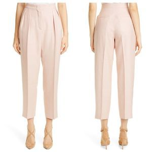 MAXMARA Pleated Silk, Linen & Wool Crop Pants NEW